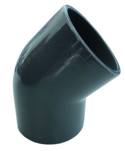 Coude d'angle 45° de 63mm de diamètre pour raccord piscine