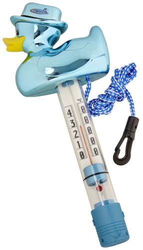 Thermomètre canard métallic bleu -accessoire piscine