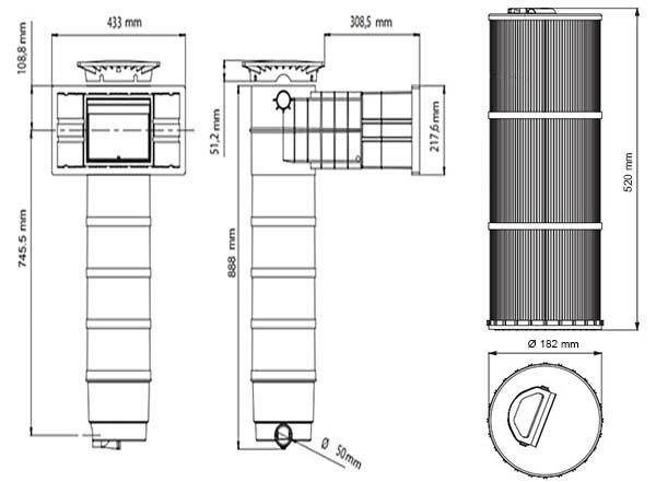 Dimensions skimmer filtrant weltico A400 Elegance