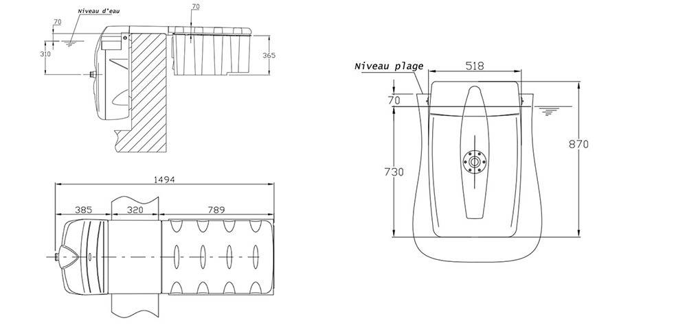 Dimensions bloc filtrant filtrinov mx18