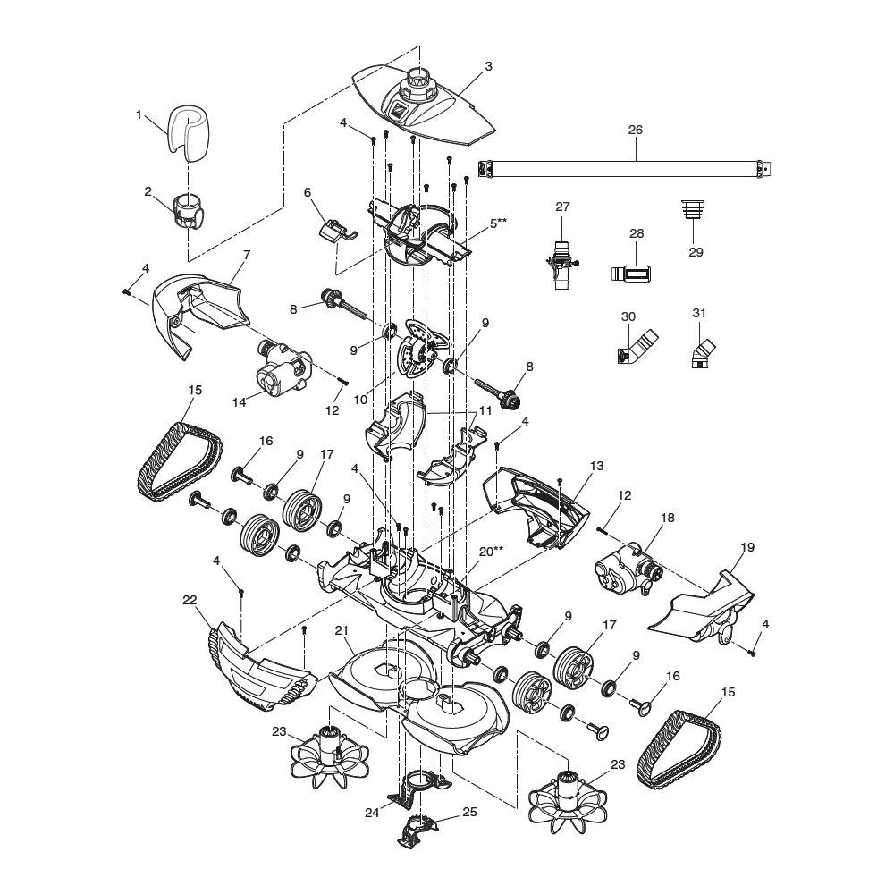 Pièces détachées du robot hydraulique zodiac mx9