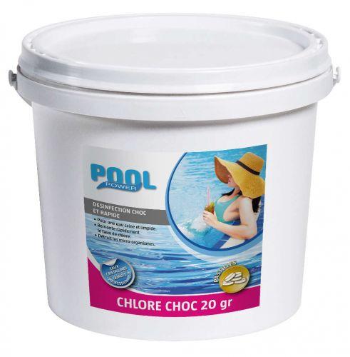 Chlore choc en pastilles de 20g pour traitement d'eau de piscine